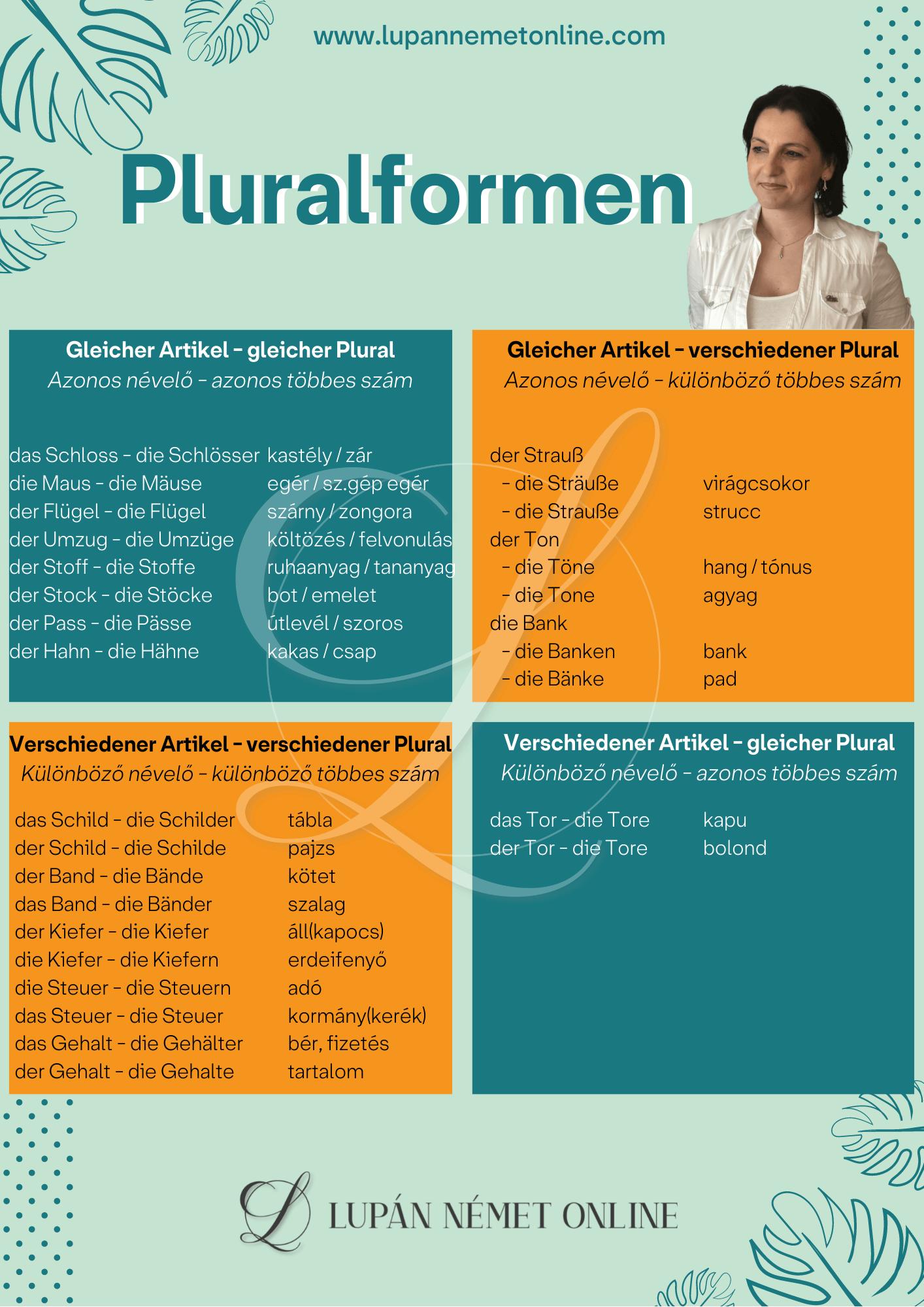 Pluralformen - többes számok