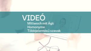 video Mittwoch mit Agi Homonyme Tobbjelentesu szavak 1