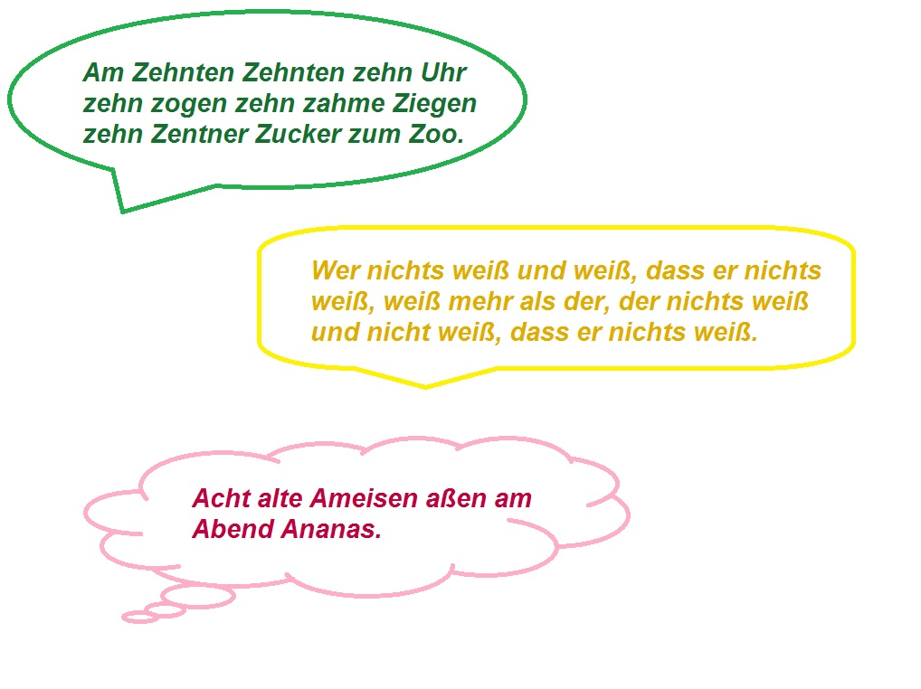 Zungenbrecher német nyelvtörők 2
